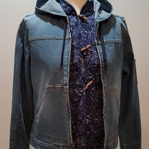 Denim Zip-up Hoodie Jacket